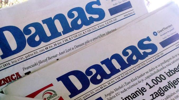 SNP Naši pozivaju na gašenje lista Danas 1