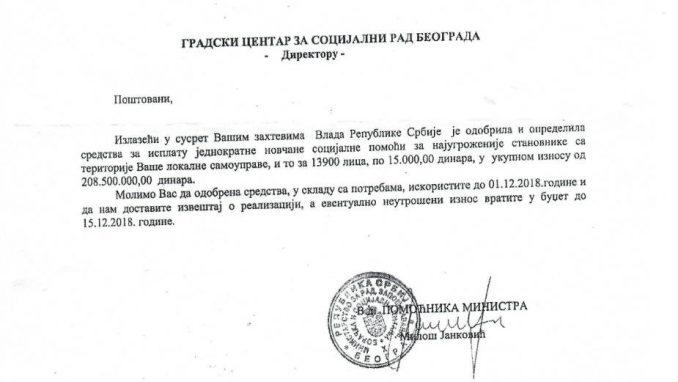 Tužilaštvo i policija da istraže raspodelu 208,5 miliona dinara 1