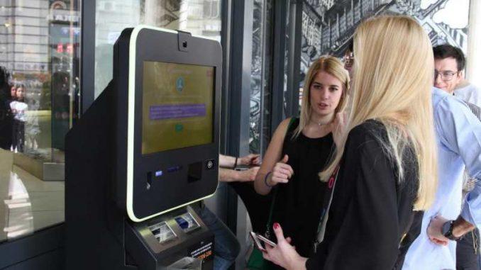 Bitkoin na bankomatu u IDEA London prodavnici 2