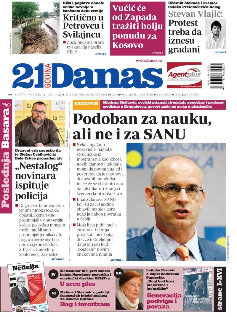 Naslovna strana za 16. jun 2018. 1