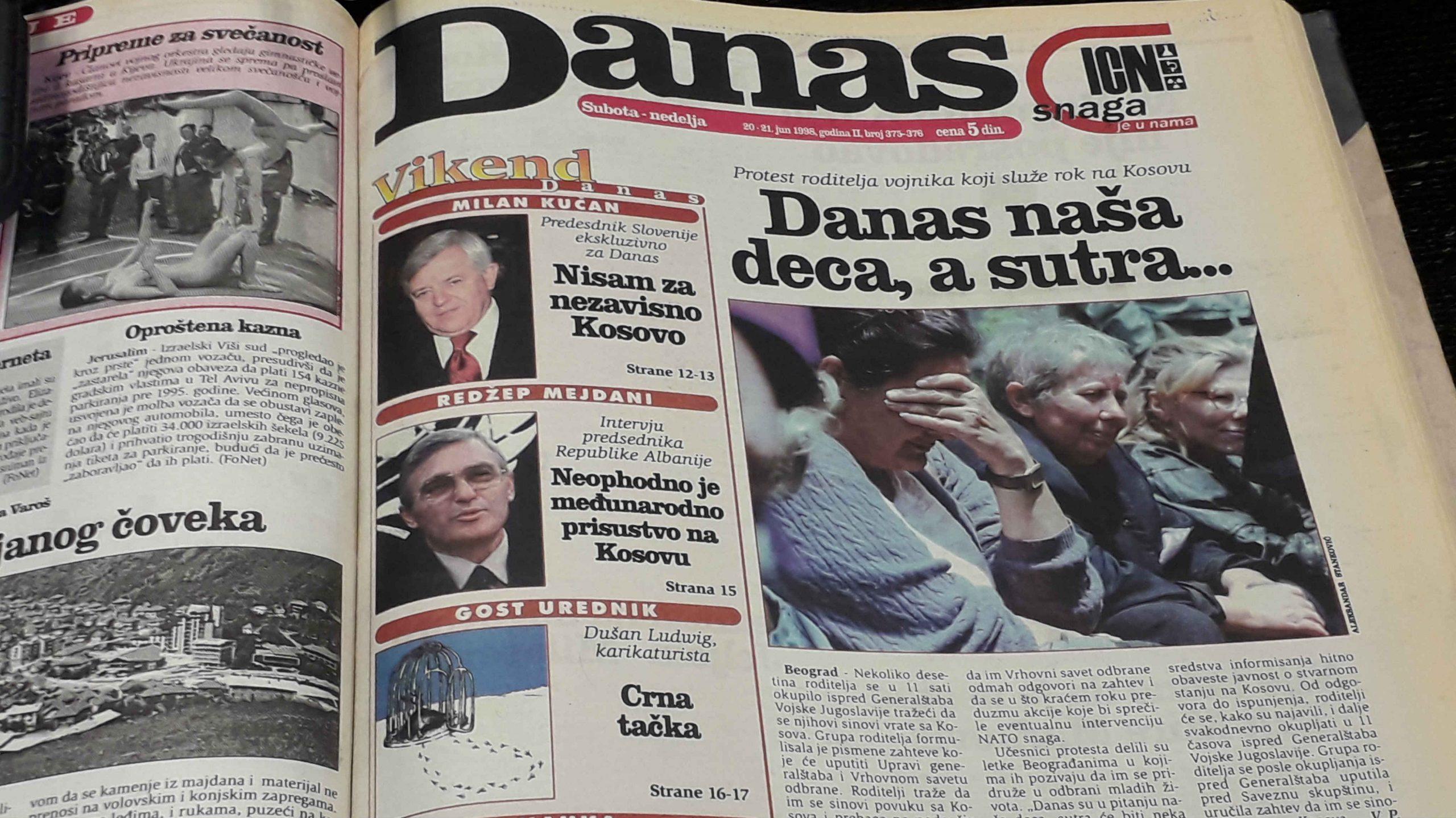 Danas (1998): Kosovski čvor i nemačka upornost 1