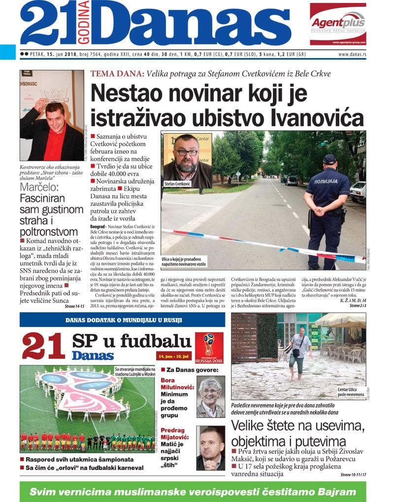 Naslovna strana za  15. jun 2018. 1