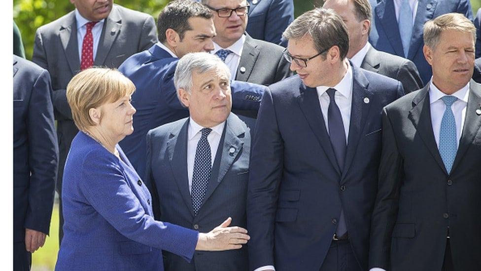 Angela Merkel, Antonio Tajani, Aleksandar Vučić