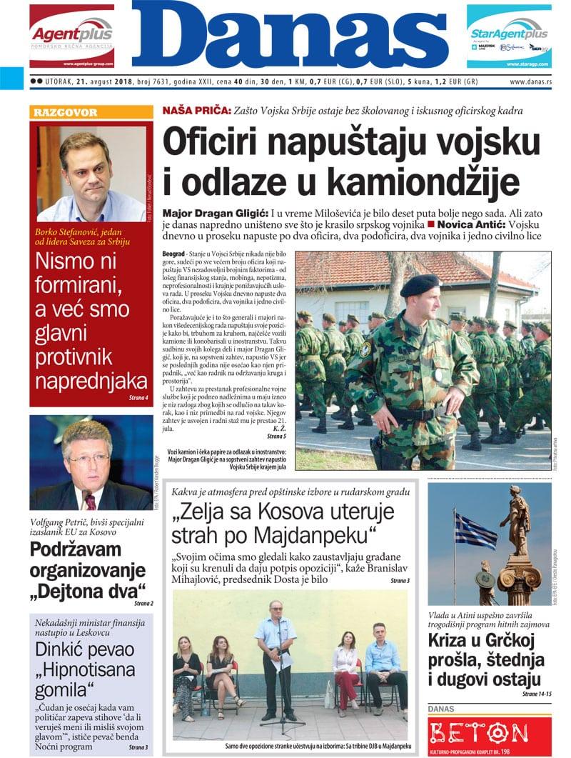 Naslovna strana za 21. avgust 2018. 1