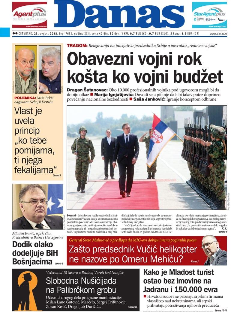 Naslovna strana za 23. avgust 2018. 1
