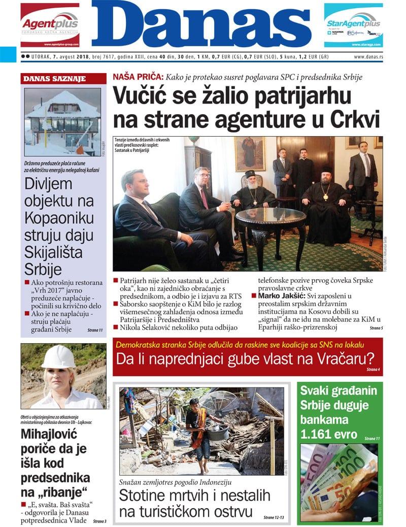 Naslovna strana za 7. avgust 2018. 1
