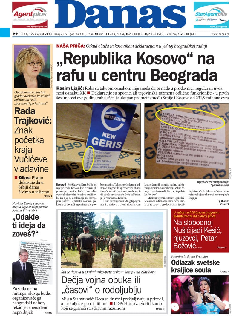 Naslovna strana za 17. avgust 2018. 1