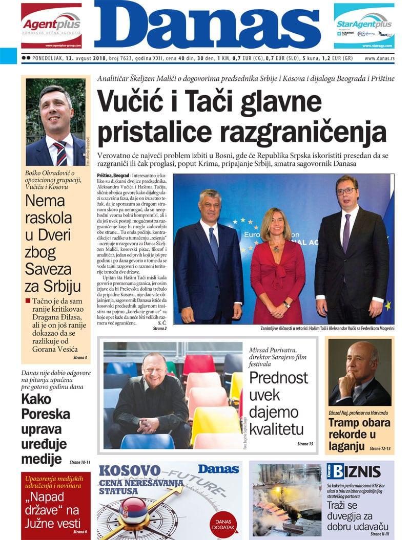 Naslovna strana za 13. avgust 2018. 1