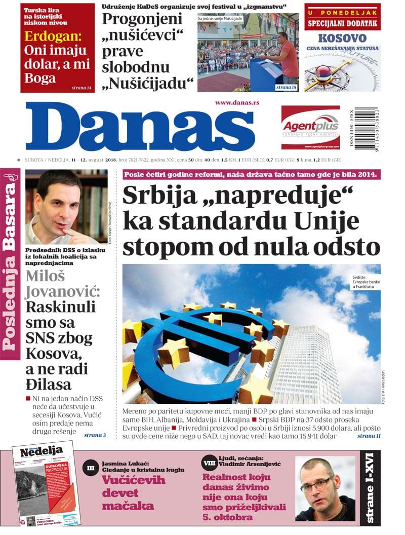 Naslovna strana za 11. avgust 2018. 1