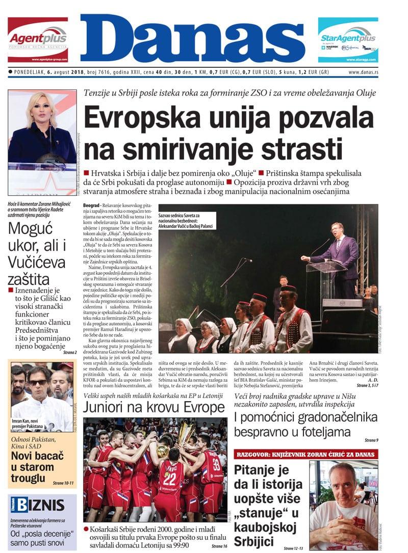 Naslovna strana za 6. avgust 2018. 1