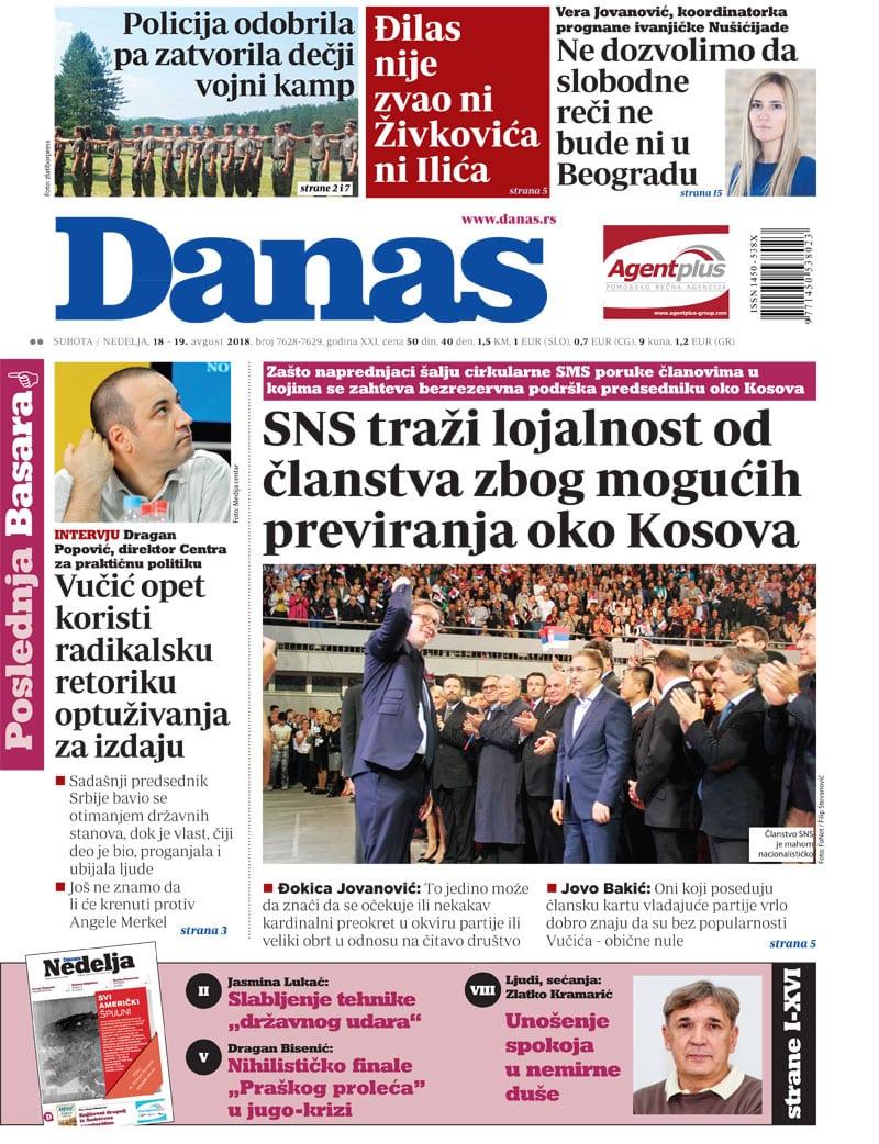 Naslovna strana za 18. avgust za 2018. godine 1