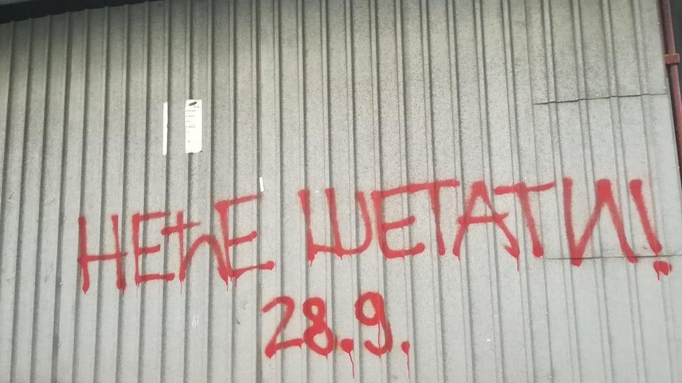 Natpis protiv Prajda u Beogradu