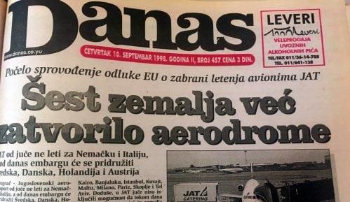 Danas (1998): Zemlje EU uvele zabranu sletanja aviona JAT 12