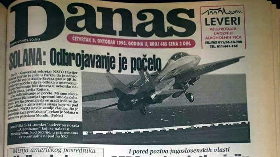 Danas 1998: Šest zahteva međunarodne zajednice Miloševiću 1