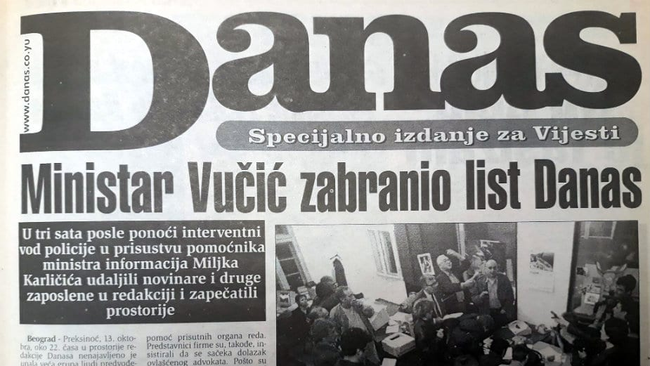 Kako je Vučić pre tačno 20 godina pokušao da zabrani Danas? 1