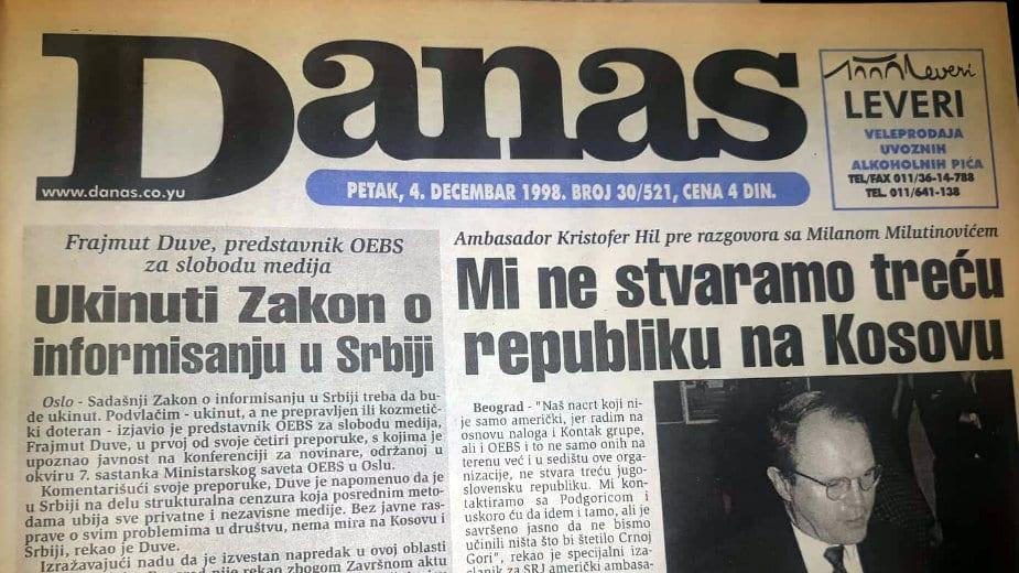 Kristofer Hil (1998): Važan unutrašnji status Kosova, to ne uključuje vojsku 1