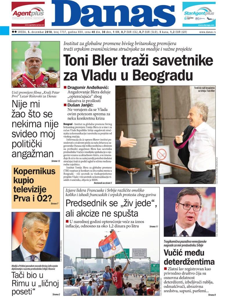Naslovna strana za 5. decembar 2018. 1