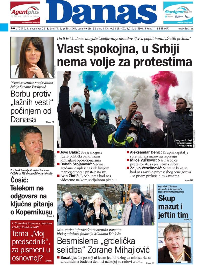 Naslovna strana za 4. decembar 2018. 1