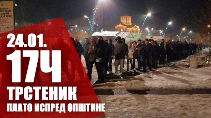 """Drugi protest """"1 od 5 miliona"""" u Trsteniku 24. januara 1"""
