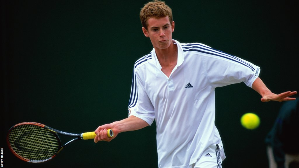 Andy Murray in action during the Boys Singles during day eight of the Wimbledon Lawn Tennis Championships on July 2, 2005