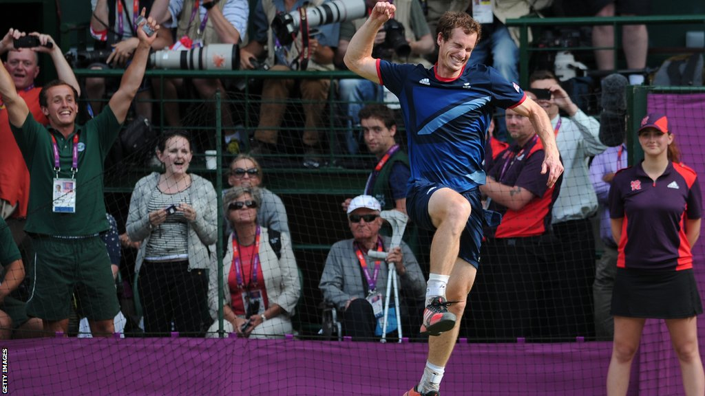 Andy Murray wins gold at the London Olympics in 2012