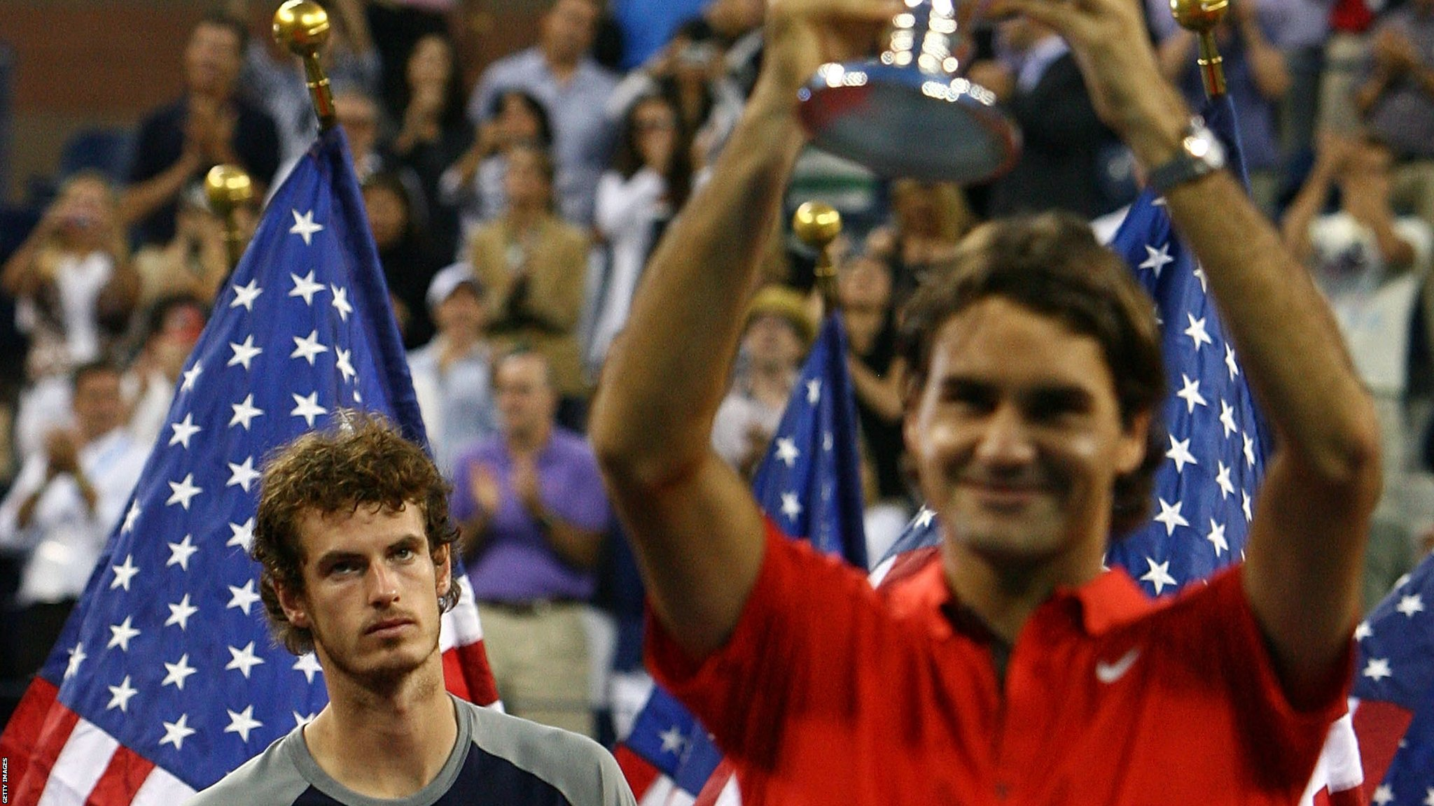Andy Murray loses to Roger Federer at the US Open final in 2008