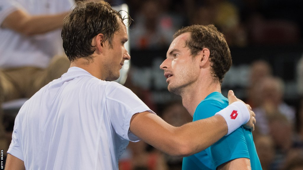 Daniil Medvedev of Russia is congratulated by Andy Murray of Great Britain after beating him during day four of the 2019 Brisbane International