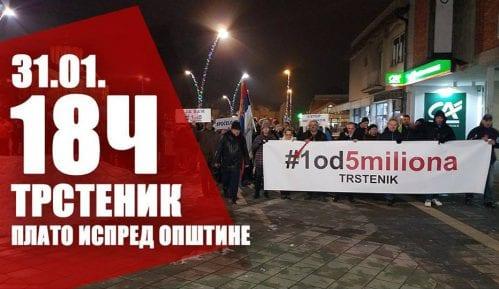 """Treći protest """"1 od 5 miliona"""" u Trsteniku 31. januara 15"""