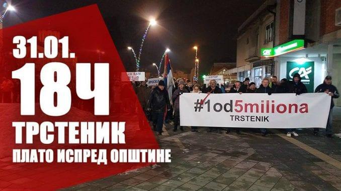 """Treći protest """"1 od 5 miliona"""" u Trsteniku 31. januara 1"""