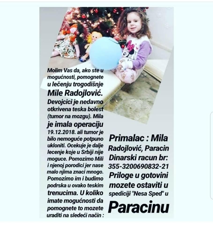 Apel za pomoć devojčici Mili Radojlović 2