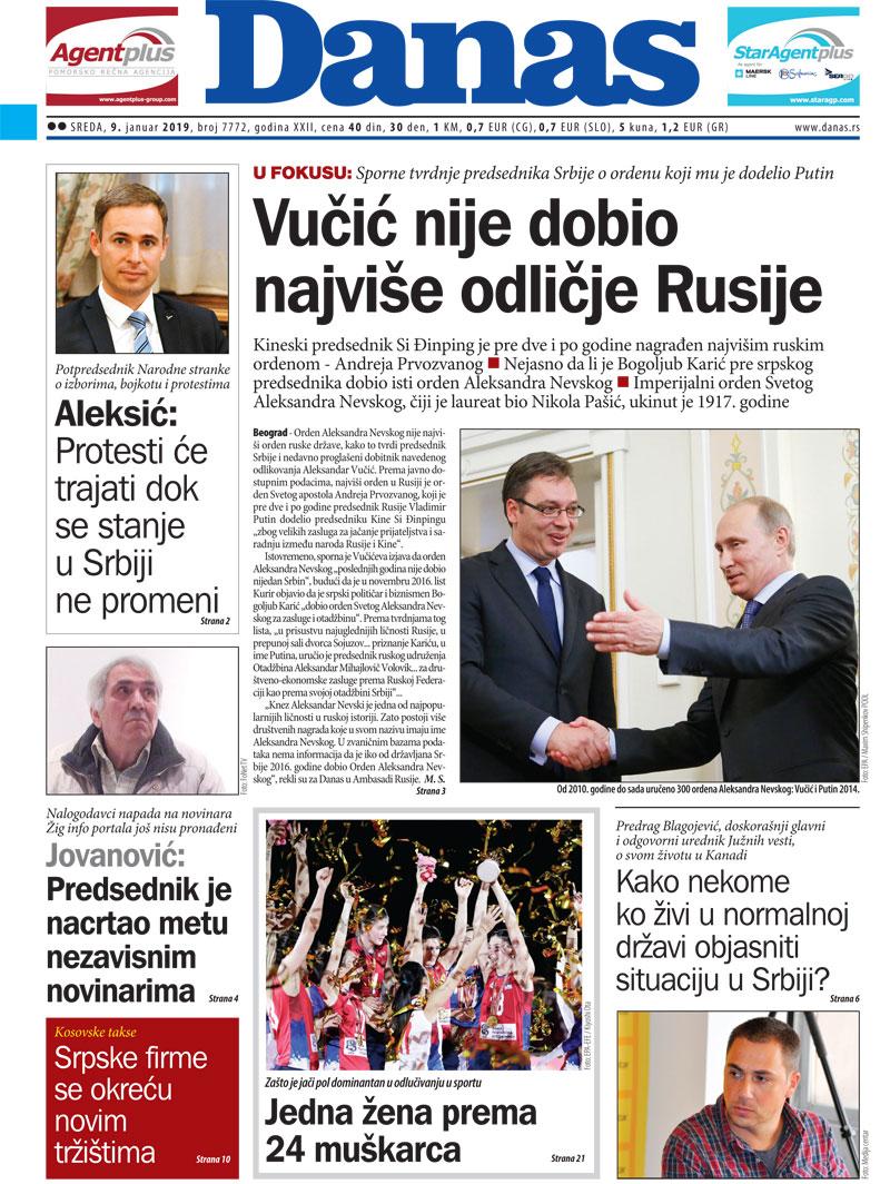 Naslovna za 9. januar 2019. 1