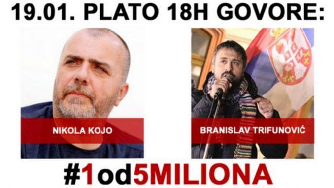 """Nikola Kojo govornik na osmom protestu """"1 od 5 miliona"""" 1"""