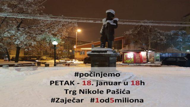 """Protest """"1 od 5 miliona"""" od 18. januara širi se i na Zaječar 1"""