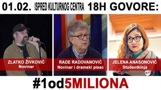 "Protest ""1 od 5 miliona"" sutra po prvi put u Pančevu 1"