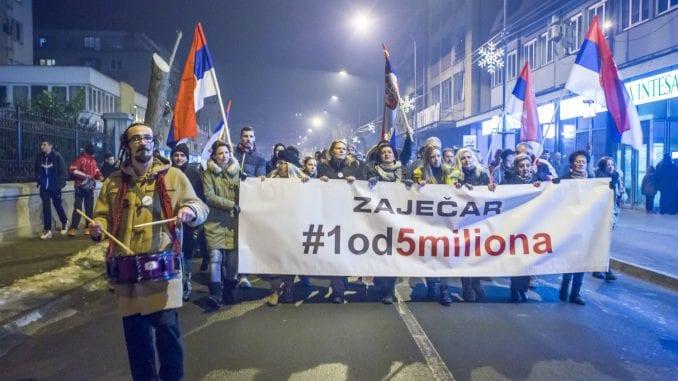 """Drugi protestni skup """"1 od 5 miliona"""" u Zaječaru 25. januara 1"""