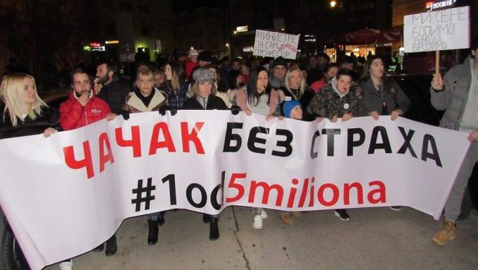 """Organizatori """"1 od 5 miliona"""" u Čačku: Nijedan prevoznik nije dao autobuse za BG protest 1"""