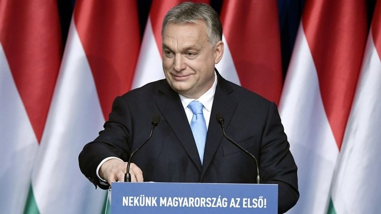 Mađarski premijer Viktor Orban drži govor u Budimpešti, 10. februara 2019.