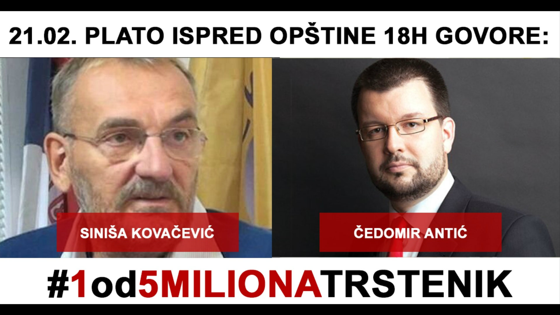 Trstenik: Na protestu 21. februara govornici Siniša Kovačević i Čedomir Antić 1