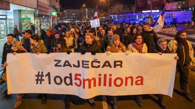 """Četvrti građanski protest """"1 od 5 miliona"""" u Zaječaru 8. februara 1"""