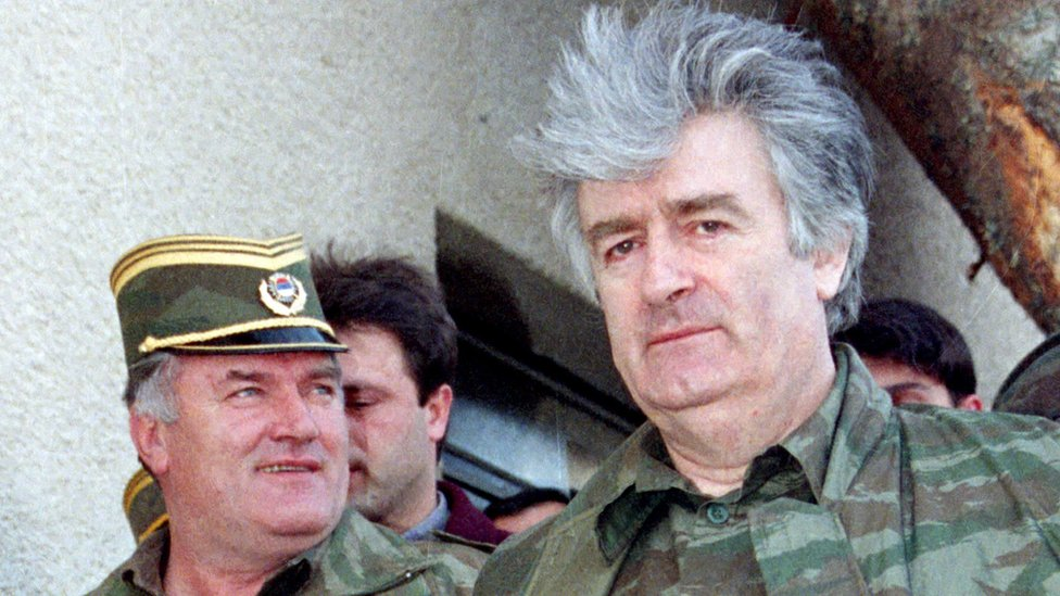 General Ratko Mladic, left, and Radovan Karadzic in 1995