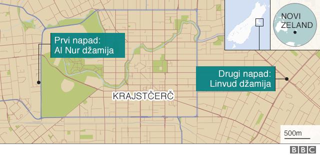 mapa mesta napada u Krajstčerču