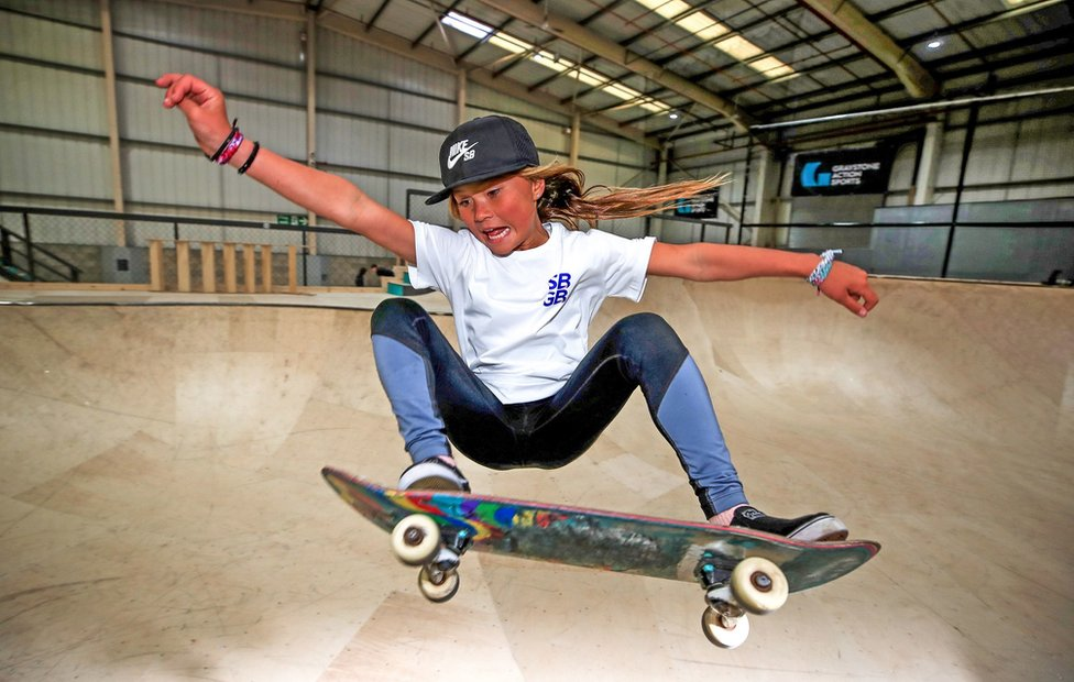 kaj Sky Brown skateboarding