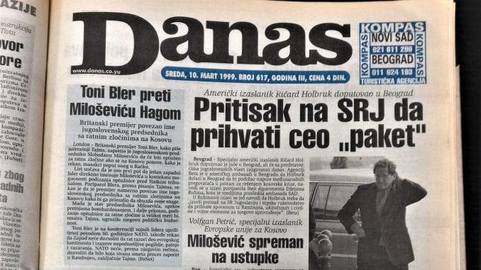 Danas (1999): Ćuruvija osuđen, Toni Bler preti Miloševiću Hagom 1