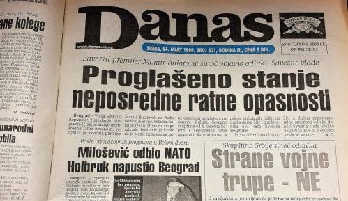 Danas (1999): Proglašeno vanredno stanje, 12 sati pred bombardovanje 15
