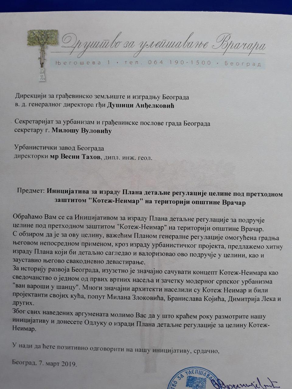 Društvo za ulepšavanje Vračara obratilo se nadležnima povodom Sinđelićeve 20 2