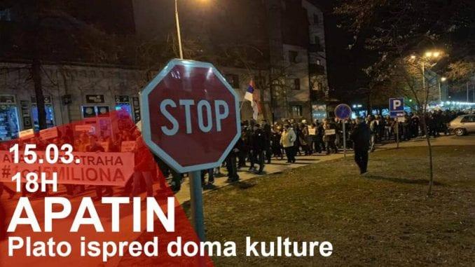 """Sedma protestna šetnja """"1 od 5 miliona"""" u Apatinu 15. marta 4"""