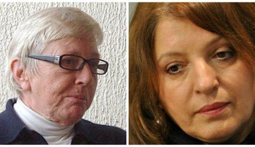 Mirjana Karanović i Srbijanka Turajlić na protestu u Gornjem Milanovcu 29. marta 13