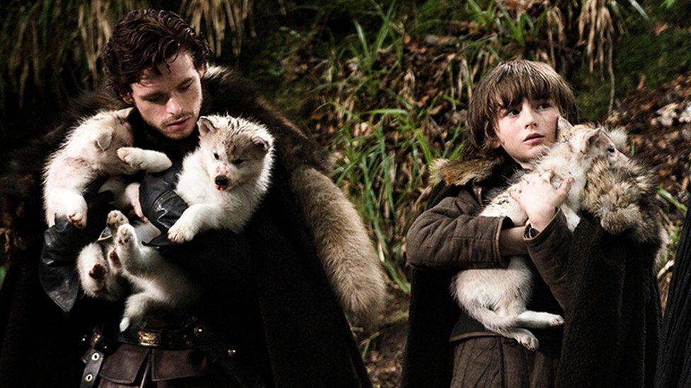 Rob i Bren Stark sa mladuncima vukova u prvoj sezoni