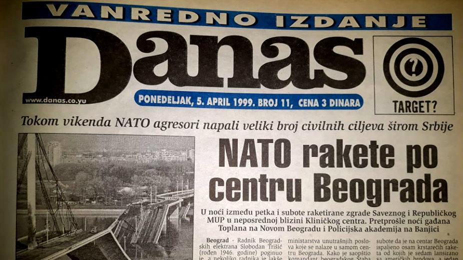 """Danas (1999): Ogromna šteta u Novom Sadu, Aleksinac """"pretvoren u stratište"""" 1"""
