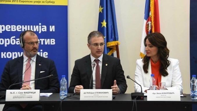 Stefanović: Srbija u borbi protiv korupcije može da se meri sa ozbiljnim državama EU 1